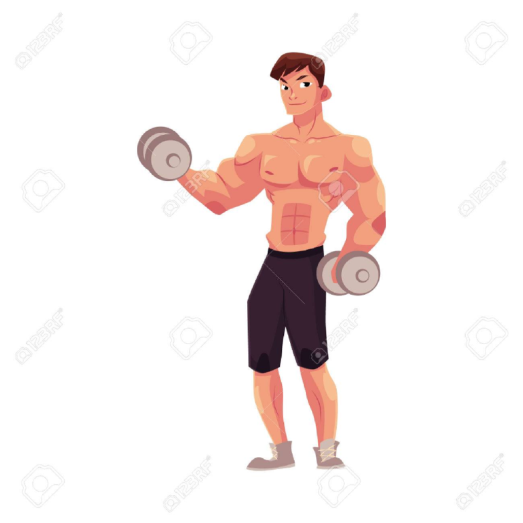 Body-building animation of a young man